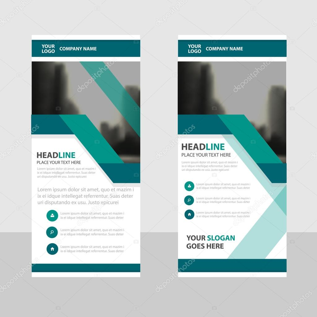 green business roll up banner flat design template abstract