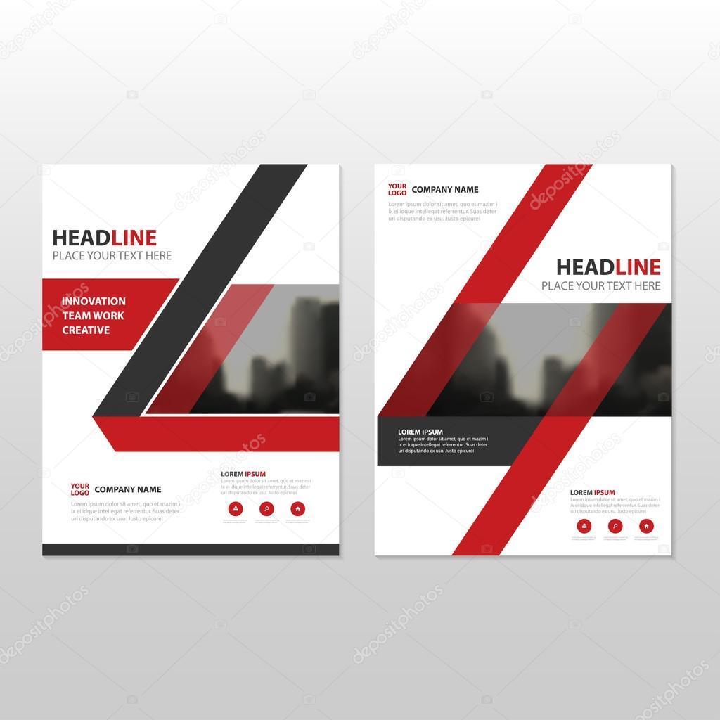 Roten Vektor Geschäftsbericht Faltblatt Broschüre Flyer Template ...