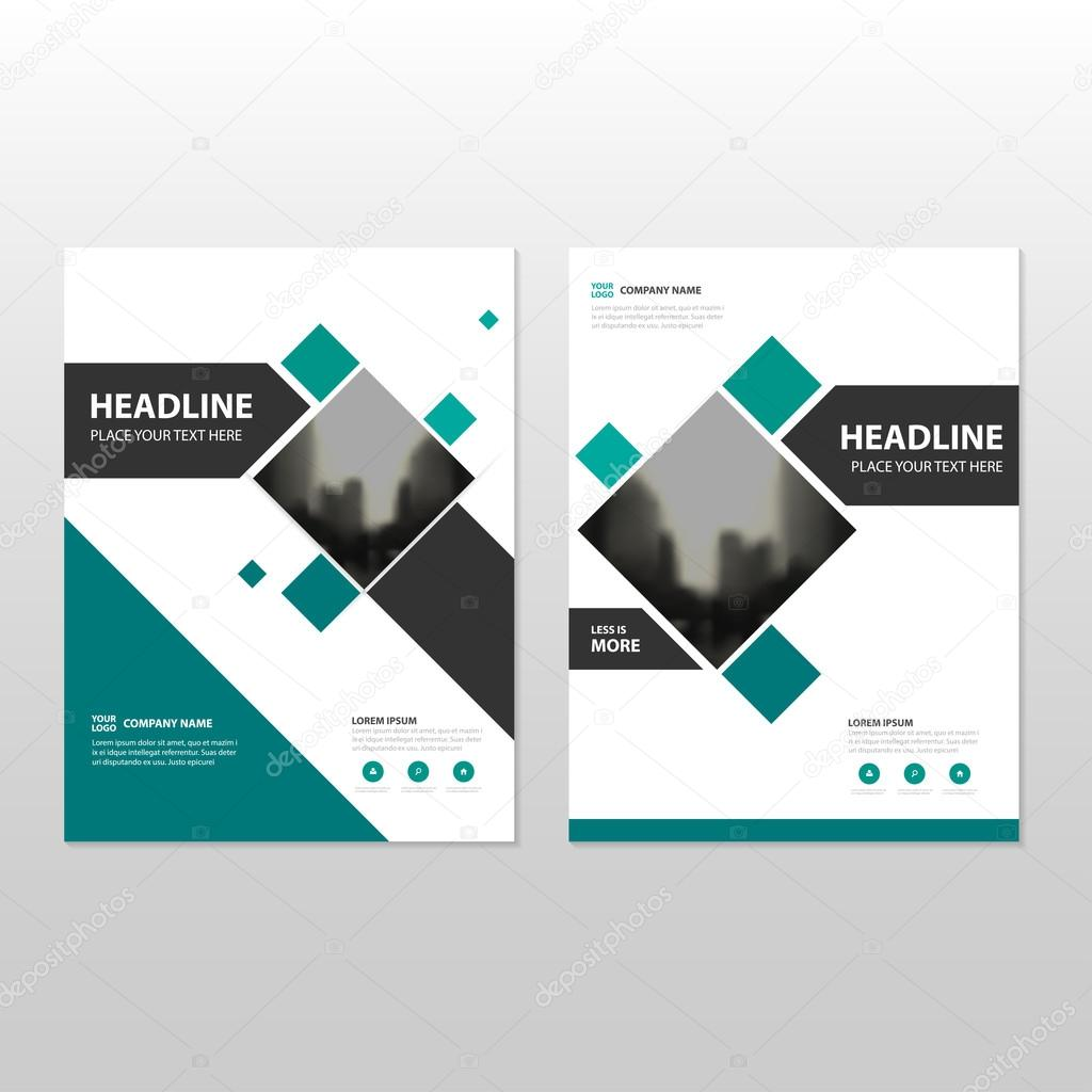 Green square Vector annual report Leaflet Brochure Flyer template ...