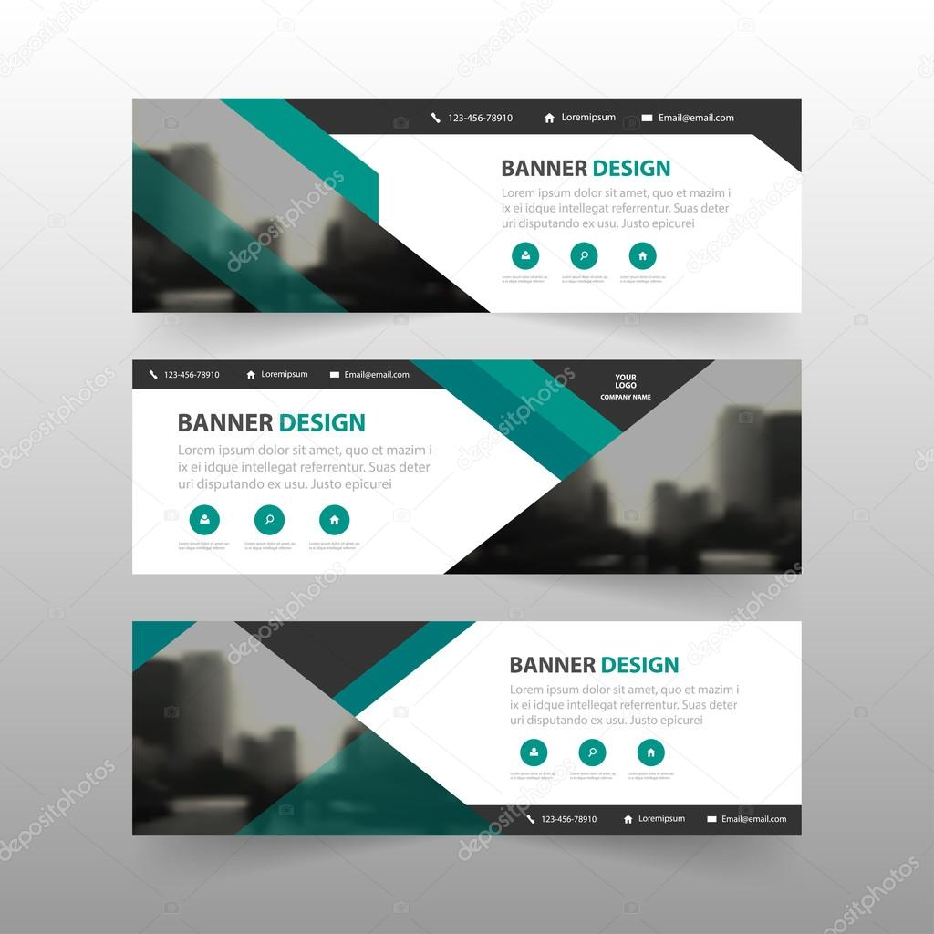 Green Abstract Triangle Corporate Business Banner Template