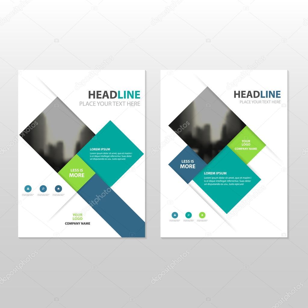 Blaue grüne Vektor jährlichen Bericht Broschüre Broschüre Flyer ...