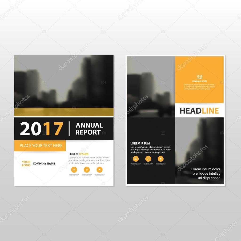 yellow black vector annual report leaflet brochure flyer template