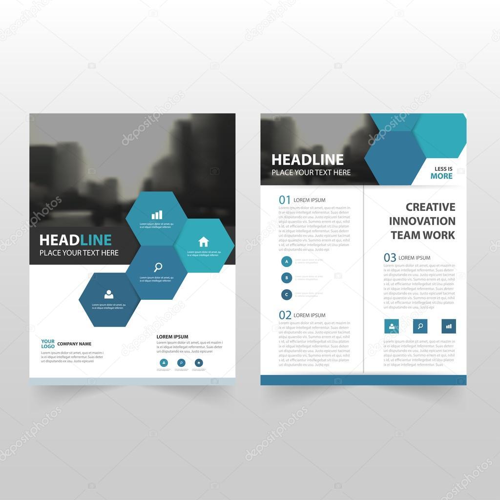 blue hexagon vector annual report leaflet brochure flyer template
