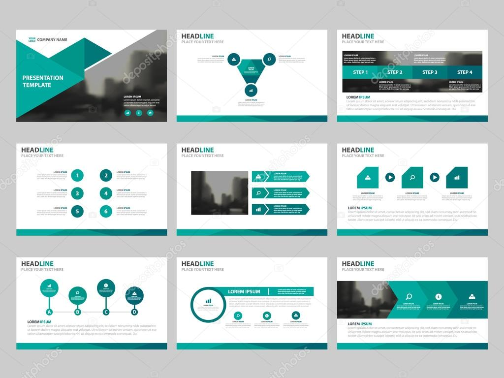 green triangle presentation templates infographic elements template