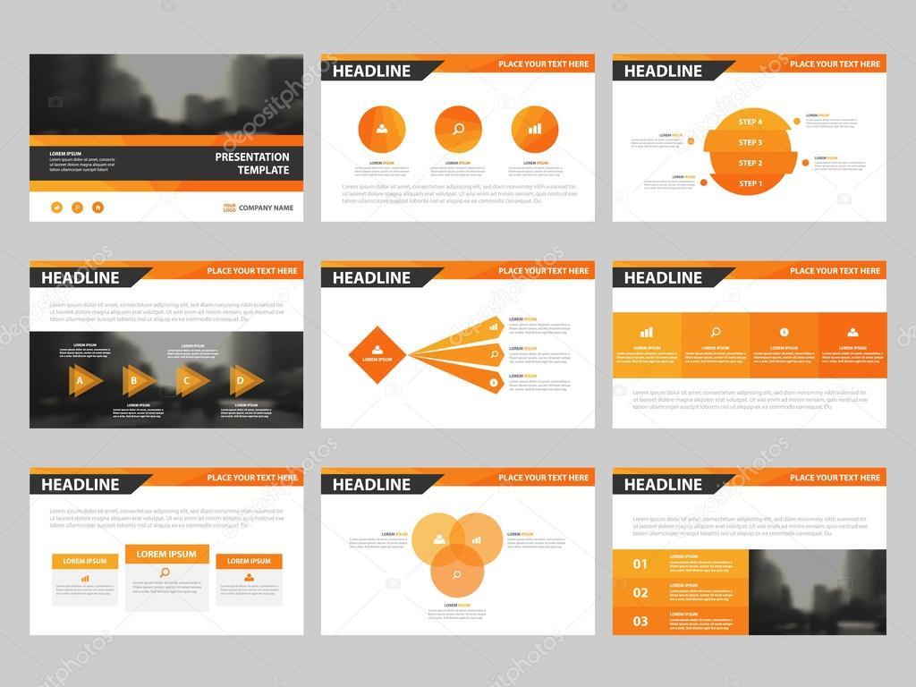Plantillas de presentación de triángulo naranja, infografía diseño ...