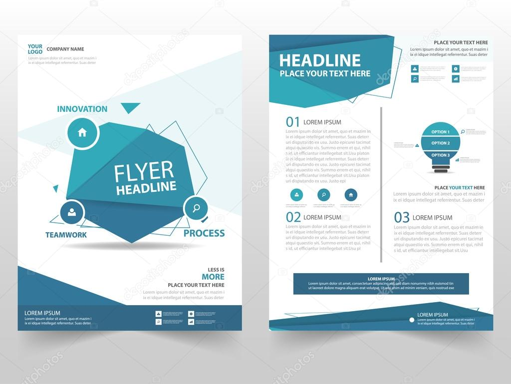 blue polygon vector brochure leaflet flyer template design book