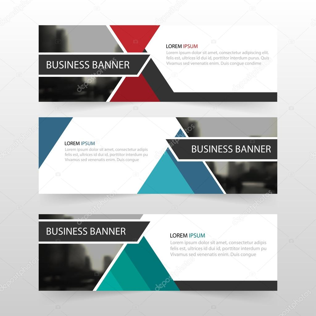 blue green red abstract triangle corporate business banner template