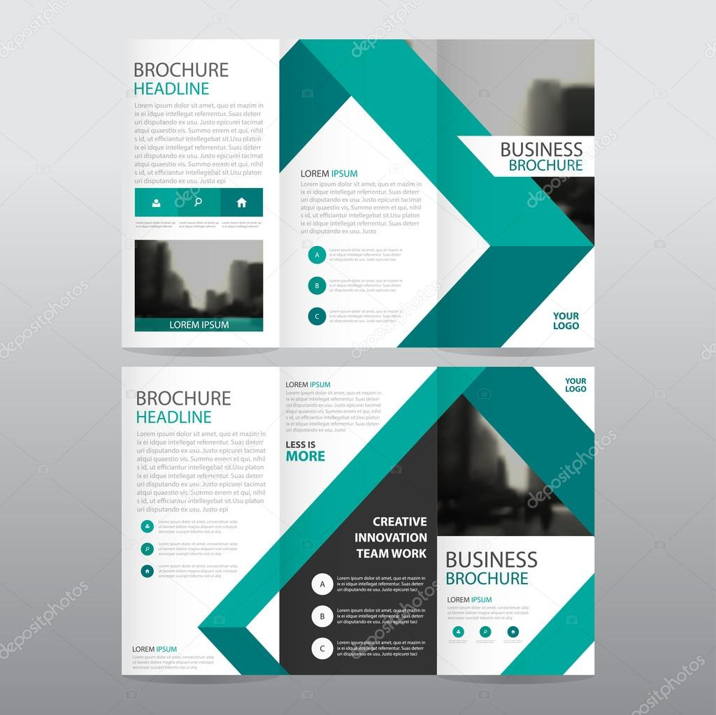 Green triangle business trifold Leaflet Brochure Flyer report ...