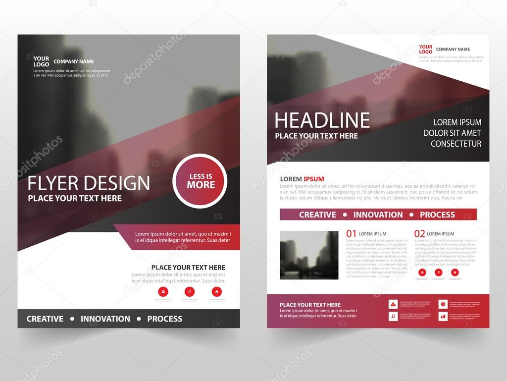 red purple business brochure leaflet flyer annual report template