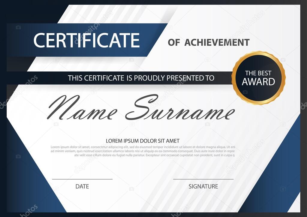 Azul certificado horizontal elegancia con Vector ilustración blanco ...