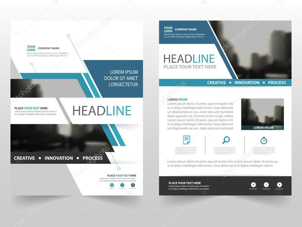 blue business brochure leaflet flyer annual report template design