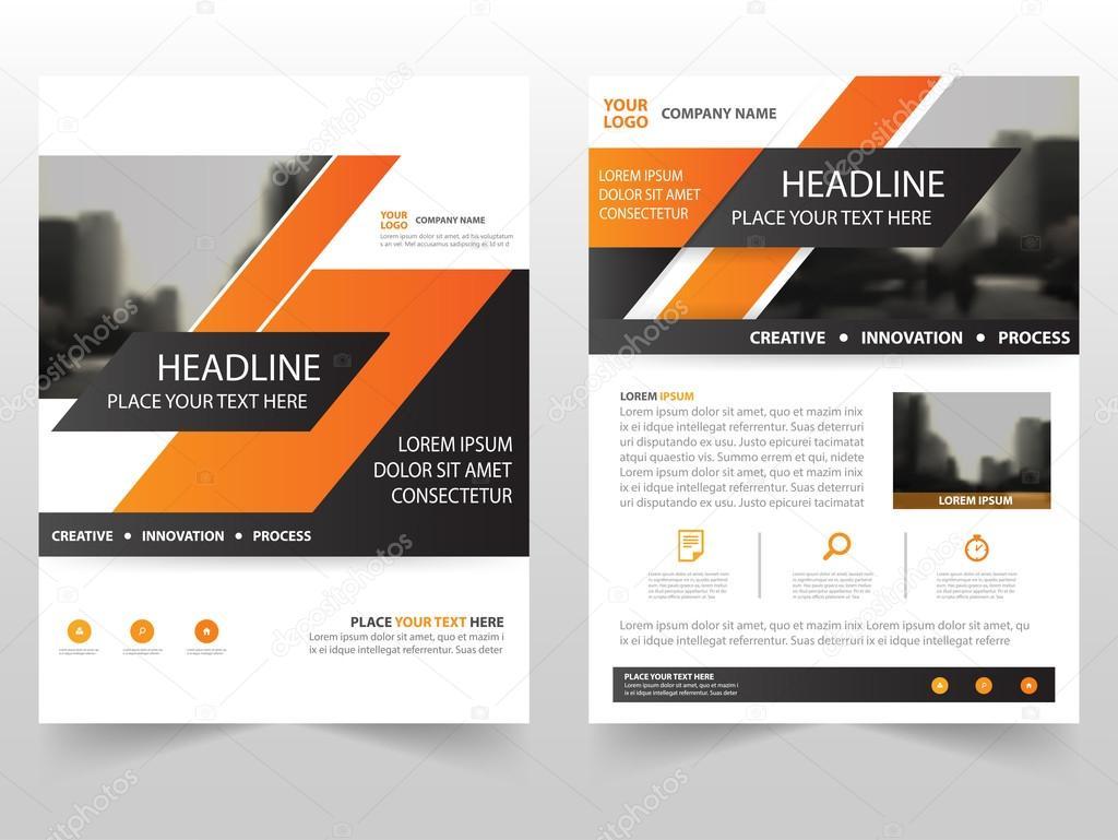 orange business brochure leaflet flyer annual report template design