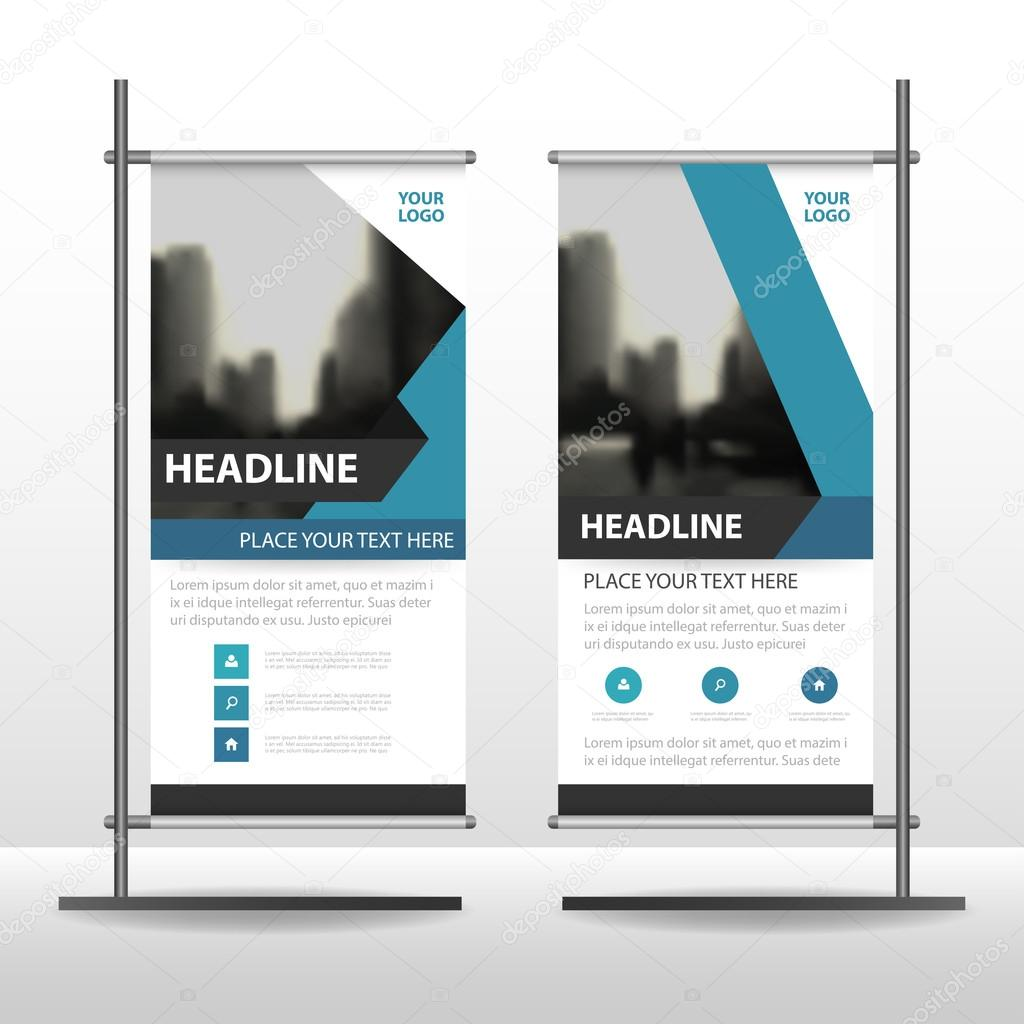 Blue black label Business Roll Up Banner flat design template ...
