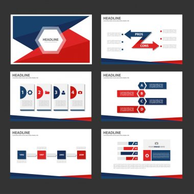 Blue and Red presentation templates Infographic elements flat design set