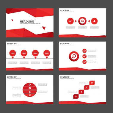 Red presentation templates Infographic elements flat design set