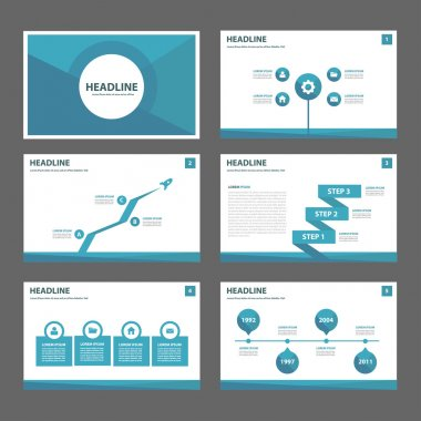 Blue presentation templates Infographic elements flat design set