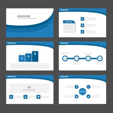 Blue curve presentation templates Infographic elements flat design set for brochure flyer leaflet marketing advertising