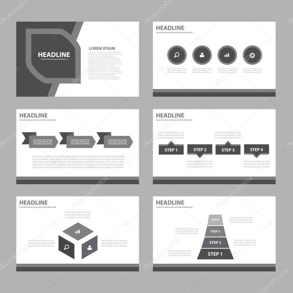 black white presentation templates infographic elements flat design
