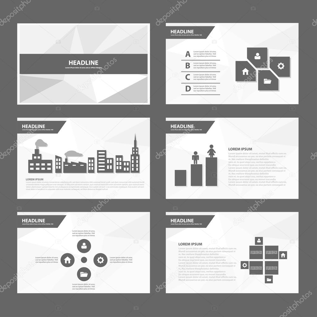 Black and white presentation templates Infographic elements flat ...
