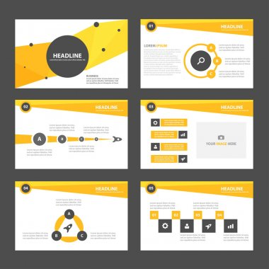 Yellow presentation templates Infographic elements flat design set for brochure flyer leaflet marketing advertising