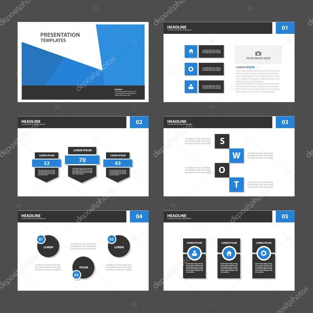 Blue black presentation templates Infographic elements flat design ...