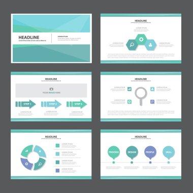Blue and green presentation templates Infographic elements flat design set for brochure flyer leaflet marketing advertising