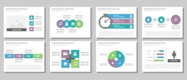 Green blue purple presentation templates Infographic elements flat design set for brochure flyer leaflet marketing advertising