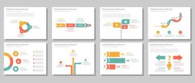 Green red orange presentation templates Infographic elements flat design set for brochure flyer leaflet marketing advertising