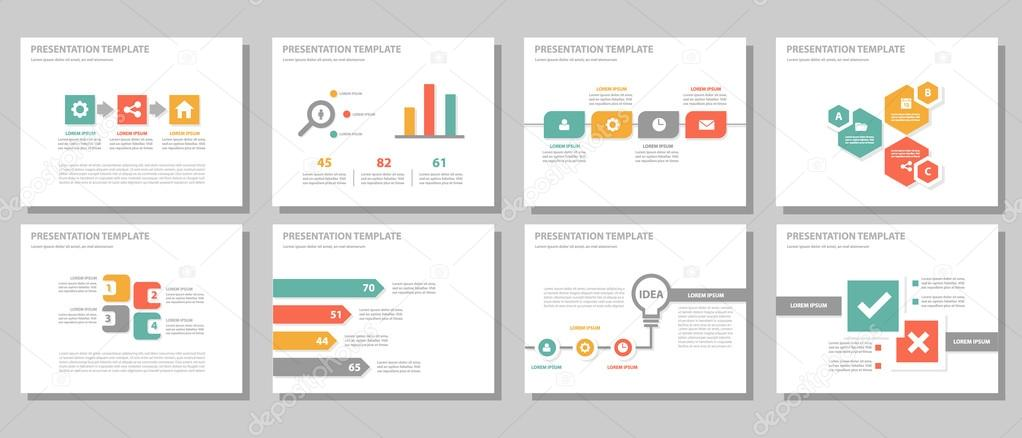 green red orange presentation templates infographic elements flat