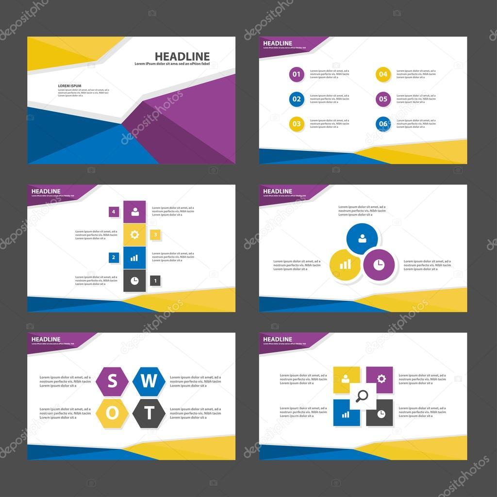 purple blue yellow presentation templates infographic elements flat