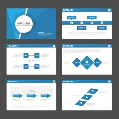 Blue presentation templates Infographic elements flat design set for brochure flyer leaflet marketing advertising