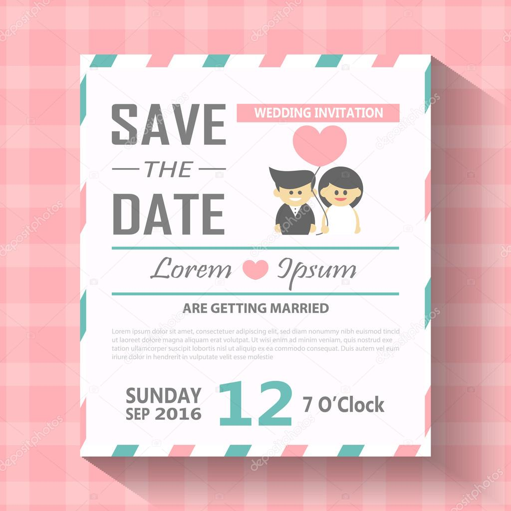 Wedding invitation card template vector illustration, wedding ...