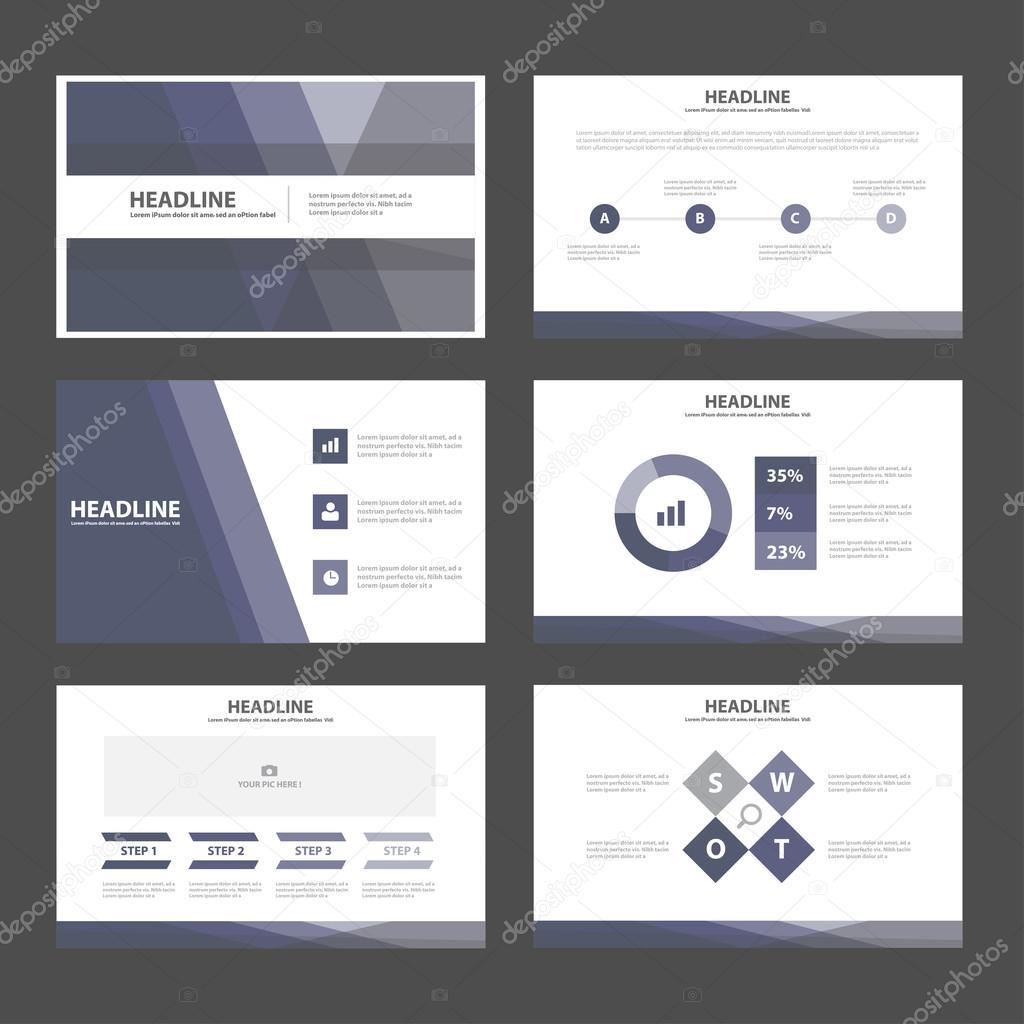 Purple presentation templates Infographic elements flat design set ...