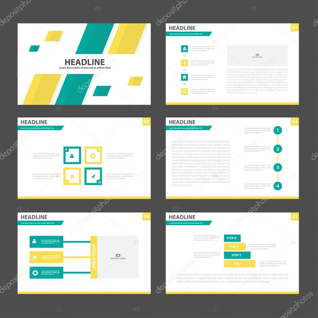 Gelb grün Präsentationsvorlagen Infographik Elemente flache Design ...
