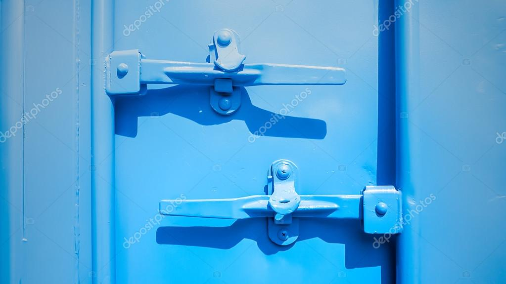 Closeup of blue shipping container locks  — Stock Photo
