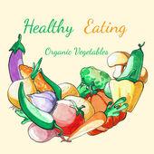 Zeleninové pozadí. Akvarel ručně kreslenou zeleniny. Zdravé stravování. Biozeleniny