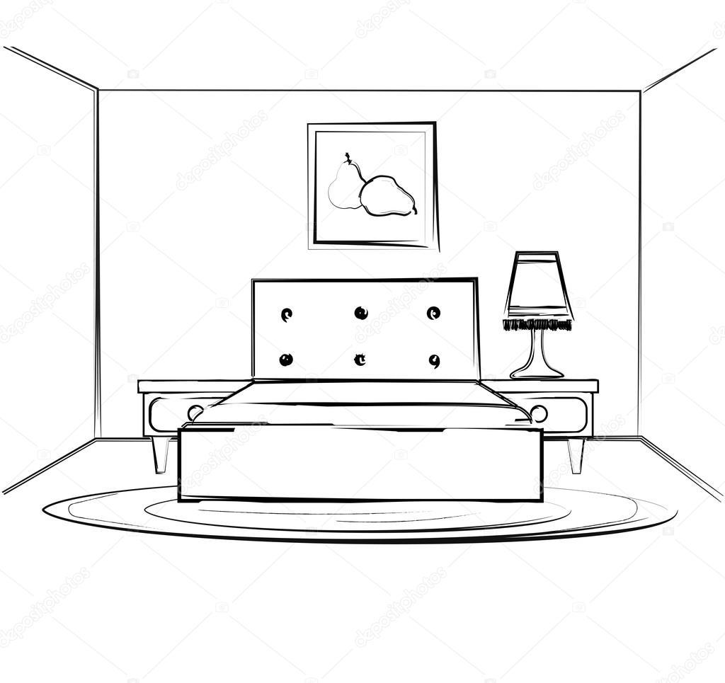Dibujo Lineal De Un Interior Plan De Sala Dormitorios