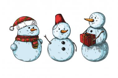 Set of different snowmen isolated on white background. Sketch, hand drawn illustration icon