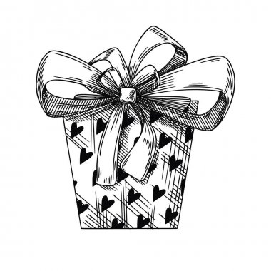 Gift sketch with bow. Festive packaging. Valentine's day gift. Vector illustration icon