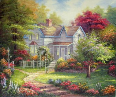 Original oil painting The Home