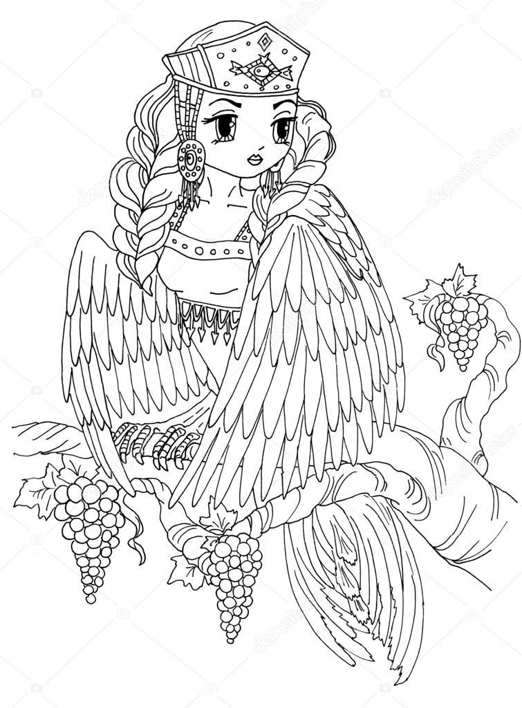 Página para colorear del pájaro de la señora — Foto de stock ...