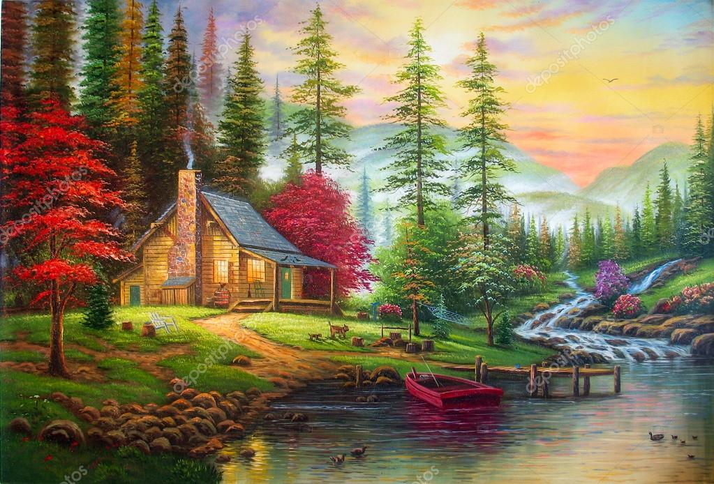 Original oil painting The house in the forest