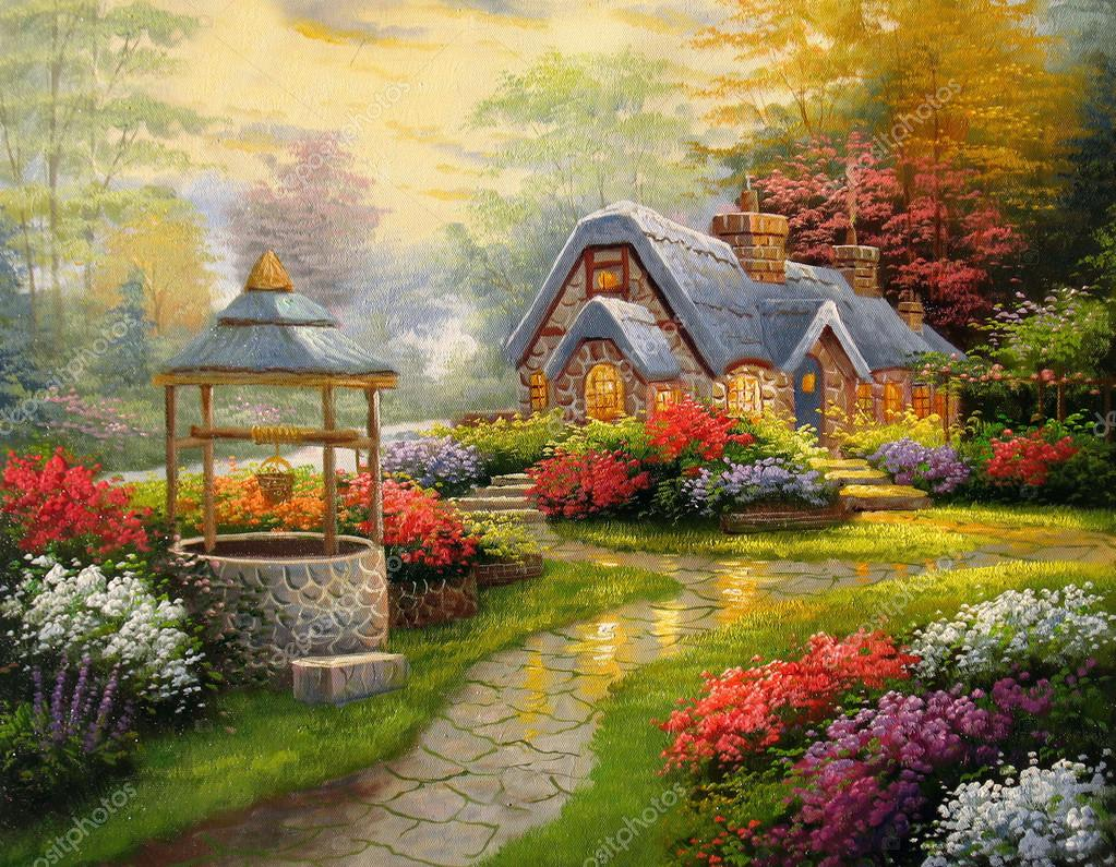 Original oil painting Cottage