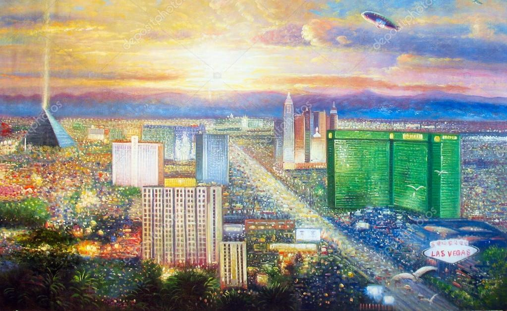 Original oil painting Las Vegas