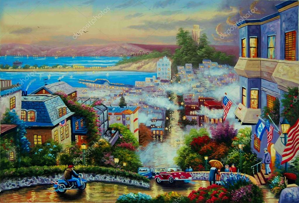 Original oil painting Lombard street