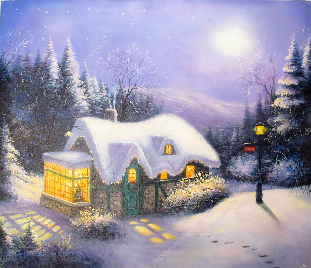 Original oil painting Christmas eve