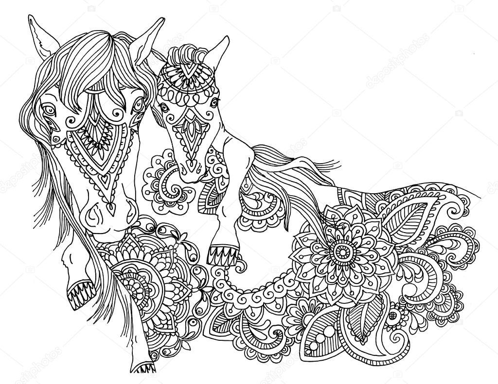 Kolorowanki Koń Zdjęcie Stockowe 169 Larisakuzovkova