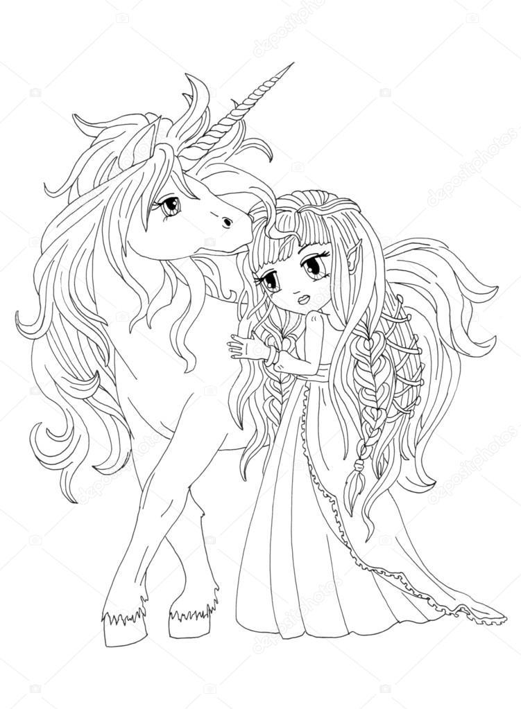 Boyama Sayfası Unicorn Ve Ay Prensesi Stok Foto Larisakuzovkova