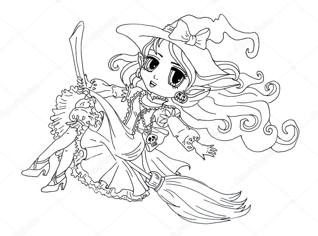Página para colorear de la señora la bruja en una escoba — Fotos de ...