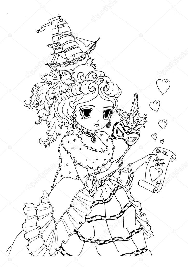 Página para colorear de la dama recibió tarjeta de San Valentín ...